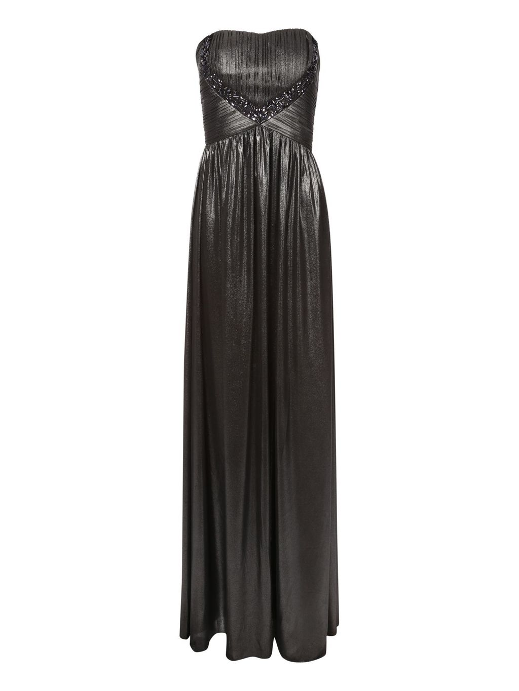 Metallic Embellished Maxi Dress, Black - neckline: strapless (straight/sweetheart); pattern: plain; sleeve style: sleeveless; style: maxi dress; length: ankle length; bust detail: added detail/embellishment at bust; predominant colour: black; occasions: evening, occasion; fit: fitted at waist & bust; fibres: polyester/polyamide - 100%; hip detail: soft pleats at hip/draping at hip/flared at hip; sleeve length: sleeveless; texture group: other - light to midweight; embellishment: jewels/stone; season: a/w 2014