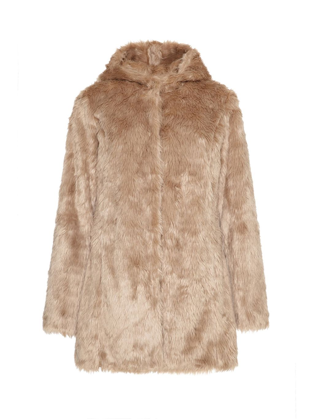 Hooded Faux Fur Coat, Brown - pattern: plain; length: below the bottom; collar: funnel; predominant colour: camel; occasions: evening, occasion, creative work; fit: straight cut (boxy); fibres: polyester/polyamide - 100%; style: fur coat; sleeve length: long sleeve; sleeve style: standard; texture group: fur; collar break: high; pattern type: fabric; trends: faux fur; season: a/w 2014