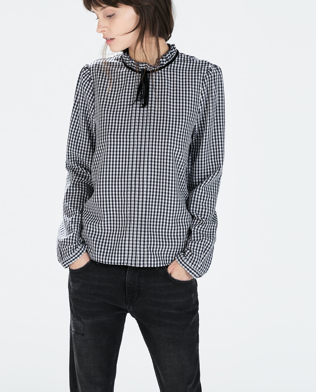 Gingham Blouse - neckline: high neck; pattern: checked/gingham; style: blouse; predominant colour: black; occasions: casual, creative work; length: standard; fit: loose; sleeve length: short sleeve; sleeve style: standard; texture group: cotton feel fabrics; pattern type: fabric; season: a/w 2014; pattern size: big & busy (top); wardrobe: highlight