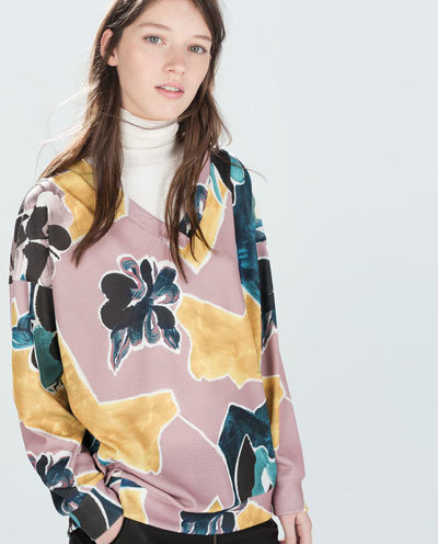 Printed Sweatshirt - neckline: low v-neck; secondary colour: pink; predominant colour: primrose yellow; occasions: casual, creative work; length: standard; style: top; fibres: polyester/polyamide - stretch; fit: loose; sleeve length: long sleeve; sleeve style: standard; pattern type: fabric; pattern: patterned/print; texture group: jersey - stretchy/drapey; season: a/w 2014; pattern size: big & busy (top); wardrobe: highlight