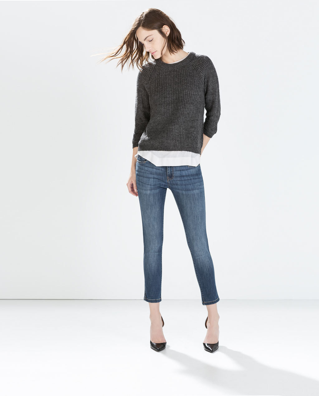 Fitted Cropped Jeans - style: skinny leg; pattern: plain; pocket detail: traditional 5 pocket; waist: mid/regular rise; predominant colour: denim; occasions: casual; length: ankle length; fibres: cotton - stretch; jeans detail: whiskering, shading down centre of thigh; texture group: denim; pattern type: fabric; season: a/w 2014; wardrobe: basic