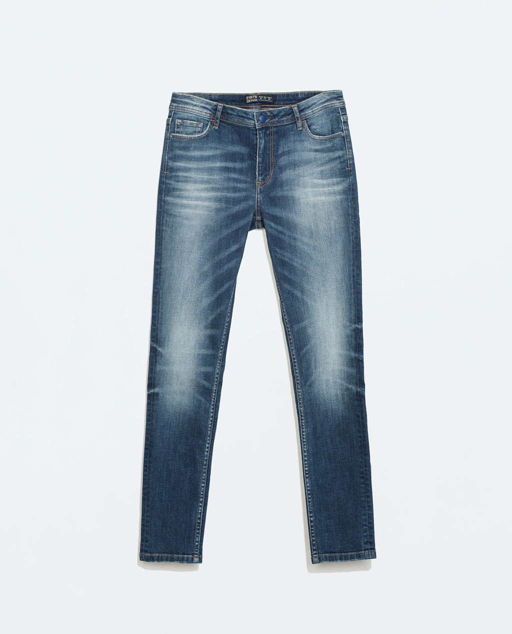 Mid Rise Cigarette Jeans - style: straight leg; length: standard; pattern: plain; pocket detail: traditional 5 pocket; waist: mid/regular rise; predominant colour: denim; occasions: casual; fibres: cotton - stretch; jeans detail: shading down centre of thigh; texture group: denim; pattern type: fabric; season: a/w 2014; wardrobe: basic
