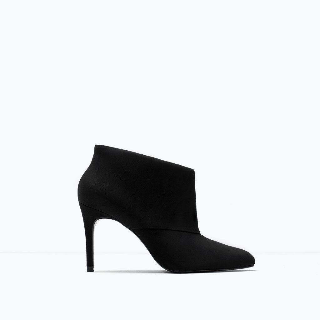 High Heel Leather Booties - predominant colour: black; occasions: casual, creative work; material: suede; heel height: high; heel: stiletto; toe: pointed toe; boot length: ankle boot; style: standard; finish: plain; pattern: plain; season: a/w 2014; wardrobe: highlight