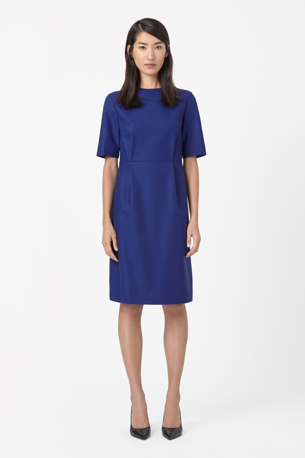High Neck Pleated Dress - style: shift; fit: tailored/fitted; pattern: plain; predominant colour: navy; occasions: work, occasion, creative work; length: on the knee; fibres: wool - stretch; neckline: crew; sleeve length: short sleeve; sleeve style: standard; pattern type: fabric; texture group: woven light midweight; trends: zesty shades, minimal sleek; season: a/w 2014; wardrobe: investment