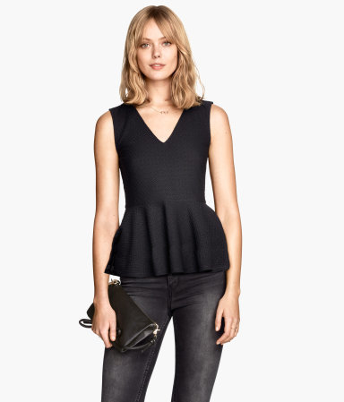 Textured Peplum Top - neckline: v-neck; pattern: plain; sleeve style: sleeveless; waist detail: peplum waist detail; predominant colour: black; occasions: evening; length: standard; style: top; fibres: polyester/polyamide - stretch; fit: tailored/fitted; sleeve length: sleeveless; pattern type: fabric; texture group: jersey - stretchy/drapey; season: a/w 2014; wardrobe: event