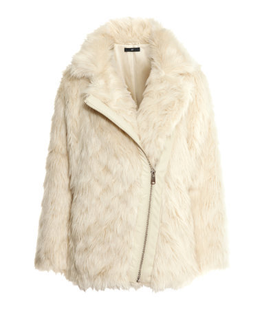 Fake Fur Jacket - pattern: plain; length: below the bottom; collar: wide lapels; style: single breasted; predominant colour: stone; occasions: casual, evening, creative work; fit: straight cut (boxy); fibres: acrylic - mix; sleeve length: long sleeve; sleeve style: standard; texture group: fur; collar break: medium; pattern type: fabric; trends: faux fur; season: a/w 2014; wardrobe: basic