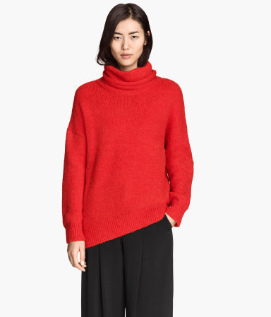 Wool Blend Polo Neck Jumper - pattern: plain; neckline: roll neck; style: standard; predominant colour: true red; occasions: casual, creative work; length: standard; fibres: wool - mix; fit: loose; sleeve length: long sleeve; sleeve style: standard; texture group: knits/crochet; pattern type: knitted - other; season: a/w 2014; wardrobe: highlight