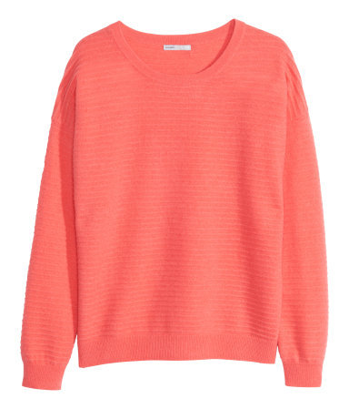 Cashmere Jumper - pattern: plain; style: standard; predominant colour: coral; occasions: casual, creative work; length: standard; fit: standard fit; neckline: crew; fibres: cashmere - 100%; sleeve length: long sleeve; sleeve style: standard; texture group: knits/crochet; season: a/w 2014; wardrobe: highlight