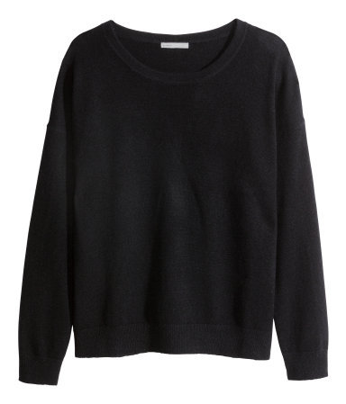 Cashmere Jumper - neckline: round neck; pattern: plain; style: standard; predominant colour: black; occasions: casual, work, creative work; length: standard; fit: standard fit; fibres: cashmere - 100%; sleeve length: long sleeve; sleeve style: standard; texture group: knits/crochet; season: a/w 2014; wardrobe: investment