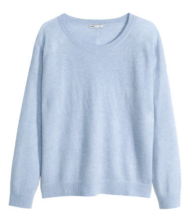 Cashmere Jumper - neckline: round neck; pattern: plain; style: standard; predominant colour: pale blue; occasions: casual, work, creative work; length: standard; fit: standard fit; fibres: cashmere - 100%; sleeve length: long sleeve; sleeve style: standard; texture group: knits/crochet; season: a/w 2014; wardrobe: highlight
