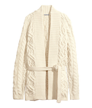 Cable Knit Cardigan - style: wrap; length: below the bottom; neckline: collarless open; pattern: cable knit; predominant colour: ivory/cream; occasions: casual, creative work; fibres: wool - mix; fit: standard fit; waist detail: belted waist/tie at waist/drawstring; sleeve length: long sleeve; sleeve style: standard; texture group: knits/crochet; pattern type: knitted - big stitch; season: a/w 2014; pattern size: big & busy (top); wardrobe: highlight