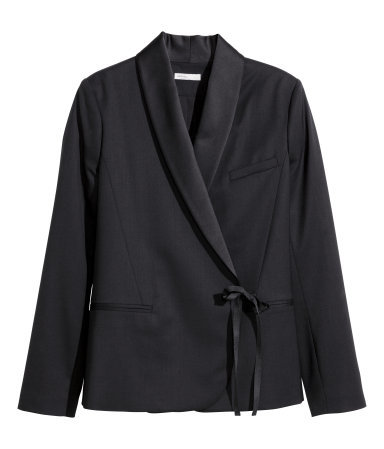Jacket In Merino Wool - pattern: plain; style: single breasted blazer; collar: shawl/waterfall; predominant colour: black; occasions: evening, occasion, creative work; length: standard; fit: tailored/fitted; fibres: wool - stretch; waist detail: belted waist/tie at waist/drawstring; sleeve length: long sleeve; sleeve style: standard; collar break: medium; texture group: woven light midweight; season: a/w 2014