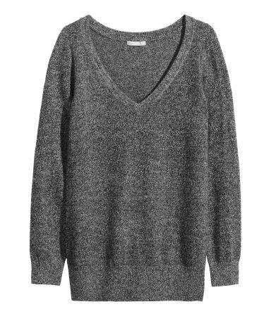Cashmere Jumper - neckline: low v-neck; pattern: plain; length: below the bottom; style: standard; predominant colour: charcoal; occasions: casual, work, creative work; fit: standard fit; fibres: cashmere - 100%; sleeve length: long sleeve; sleeve style: standard; texture group: knits/crochet; pattern type: knitted - fine stitch; season: a/w 2014; wardrobe: investment