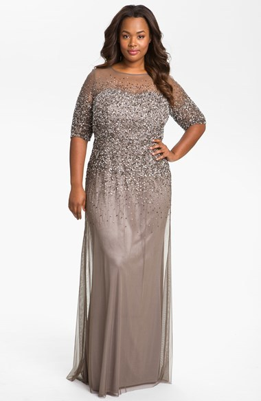 Beaded Illusion Gown (Plus Size) - style: ballgown; pattern: plain; predominant colour: champagne; occasions: evening, occasion; length: floor length; fit: body skimming; fibres: polyester/polyamide - 100%; neckline: crew; sleeve length: short sleeve; sleeve style: standard; texture group: sheer fabrics/chiffon/organza etc.; pattern type: fabric; embellishment: sequins; season: a/w 2014; wardrobe: event