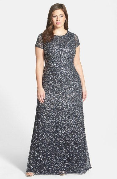 Embellished Scoop Back Gown (Plus Size) - style: ballgown; neckline: round neck; pattern: plain; back detail: cowl/draping/scoop at back; predominant colour: navy; secondary colour: silver; occasions: evening, occasion; length: floor length; fit: body skimming; fibres: polyester/polyamide - 100%; sleeve length: short sleeve; sleeve style: standard; texture group: sheer fabrics/chiffon/organza etc.; pattern type: fabric; embellishment: sequins; season: a/w 2014; wardrobe: event