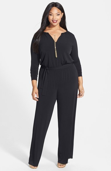 Chain Neck Wide Leg Jumpsuit (Plus Size) - length: standard; neckline: v-neck; fit: fitted at waist; pattern: plain; secondary colour: gold; predominant colour: black; occasions: casual, evening, occasion, creative work; fibres: polyester/polyamide - stretch; sleeve length: 3/4 length; sleeve style: standard; texture group: crepes; style: jumpsuit; pattern type: fabric; season: a/w 2014; wardrobe: highlight