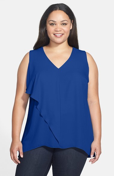 Asymmetrical Ruffle Blouse (Plus Size) - neckline: v-neck; pattern: plain; sleeve style: sleeveless; length: below the bottom; predominant colour: royal blue; occasions: casual, evening, creative work; style: top; fibres: polyester/polyamide - 100%; fit: loose; sleeve length: sleeveless; texture group: crepes; bust detail: tiers/frills/bulky drapes/pleats; pattern type: fabric; trends: zesty shades; season: a/w 2014