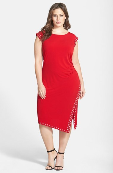 Studded Asymmetrical Hem Dress (Plus Size) - style: shift; length: below the knee; neckline: round neck; sleeve style: capped; pattern: plain; predominant colour: true red; secondary colour: silver; occasions: casual, evening, occasion; fit: body skimming; fibres: polyester/polyamide - stretch; sleeve length: short sleeve; pattern type: fabric; texture group: jersey - stretchy/drapey; embellishment: studs; season: a/w 2014; wardrobe: highlight; embellishment location: trim