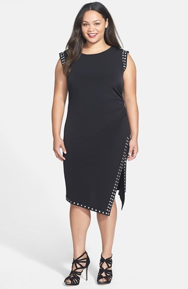 Studded Asymmetrical Hem Dress (Plus Size) - style: shift; length: below the knee; neckline: round neck; sleeve style: capped; pattern: plain; secondary colour: silver; predominant colour: black; occasions: casual, evening, occasion; fit: body skimming; fibres: polyester/polyamide - stretch; sleeve length: short sleeve; pattern type: fabric; texture group: jersey - stretchy/drapey; embellishment: studs; season: a/w 2014