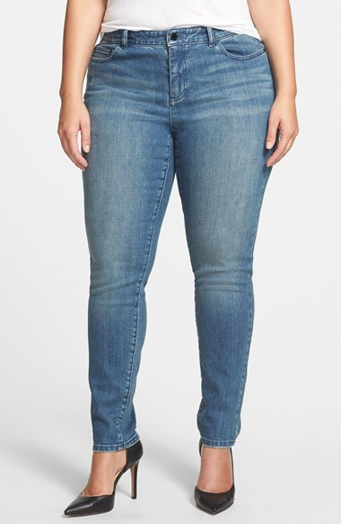 Zebra Sequin Stretch Skinny Jeans (Plus Size) - style: skinny leg; length: standard; pattern: plain; pocket detail: traditional 5 pocket; waist: mid/regular rise; predominant colour: denim; occasions: casual; fibres: cotton - stretch; jeans detail: whiskering, shading down centre of thigh, washed/faded; texture group: denim; pattern type: fabric; season: a/w 2014; wardrobe: basic