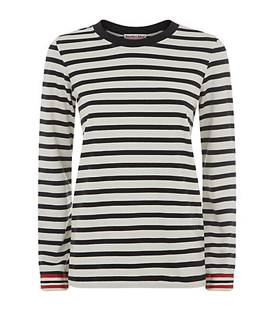 Breton Top - pattern: horizontal stripes; secondary colour: ivory/cream; predominant colour: black; occasions: casual, creative work; length: standard; style: top; fibres: cotton - 100%; fit: body skimming; neckline: crew; sleeve length: long sleeve; sleeve style: standard; pattern type: fabric; texture group: jersey - stretchy/drapey; season: a/w 2014; pattern size: big & busy (top)