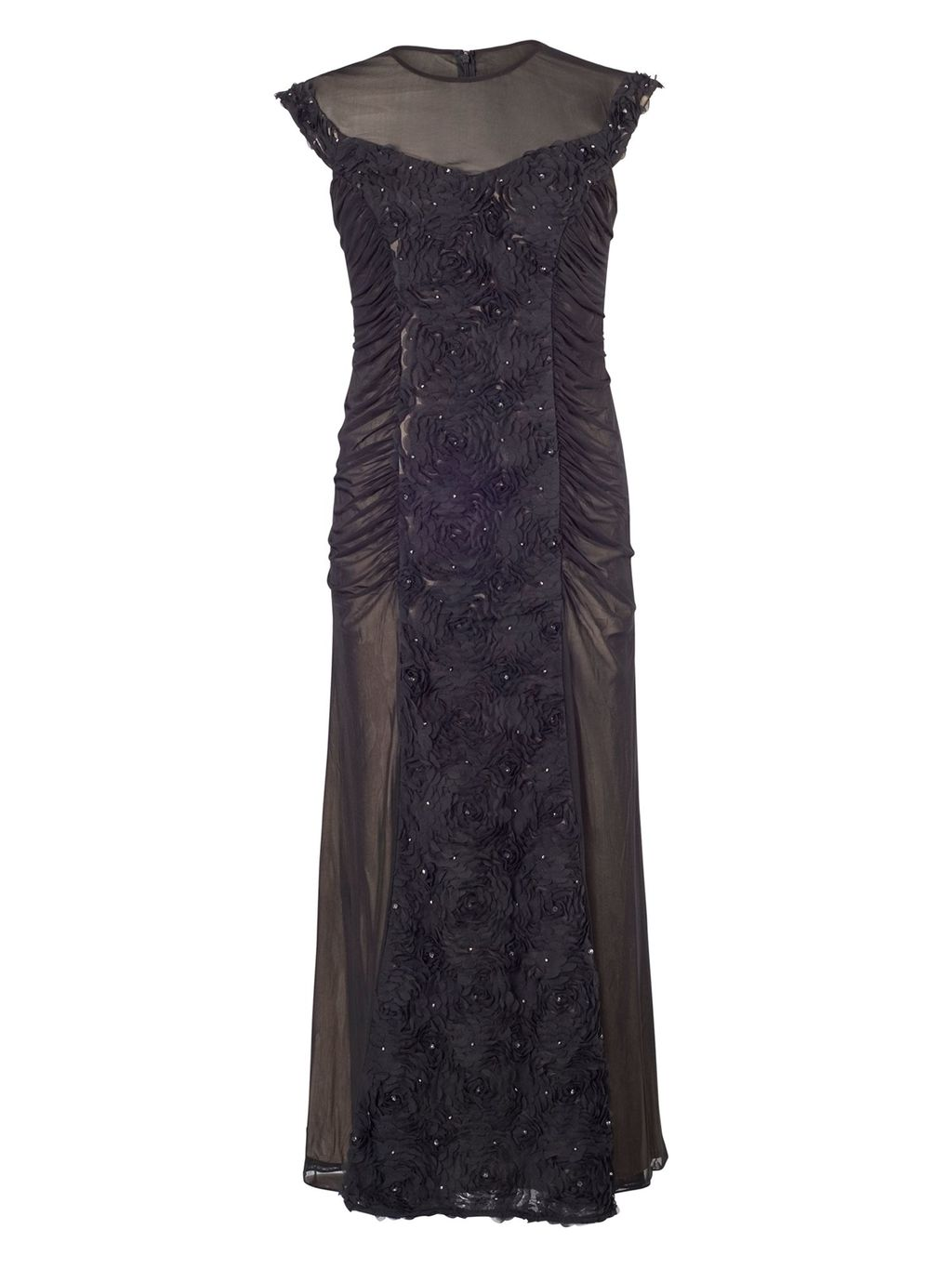Black Floral/Beaded Mesh Long Dress, Black - sleeve style: capped; pattern: plain; style: maxi dress; length: ankle length; predominant colour: aubergine; occasions: evening, occasion; fit: body skimming; fibres: polyester/polyamide - 100%; neckline: crew; sleeve length: sleeveless; texture group: sheer fabrics/chiffon/organza etc.; pattern type: fabric; embellishment: beading; season: a/w 2014; wardrobe: event
