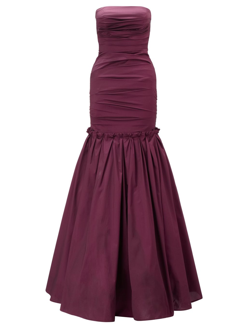 Burgundy Marilea Strapless Long Gown, Burgundy - style: ballgown; neckline: strapless (straight/sweetheart); fit: tailored/fitted; pattern: plain; sleeve style: strapless; waist detail: twist front waist detail/nipped in at waist on one side/soft pleats/draping/ruching/gathering waist detail; bust detail: ruching/gathering/draping/layers/pintuck pleats at bust; predominant colour: burgundy; occasions: evening, occasion; length: floor length; fibres: polyester/polyamide - stretch; hip detail: structured pleats at hip; sleeve length: sleeveless; texture group: structured shiny - satin/tafetta/silk etc.; pattern type: fabric; season: a/w 2014; wardrobe: event