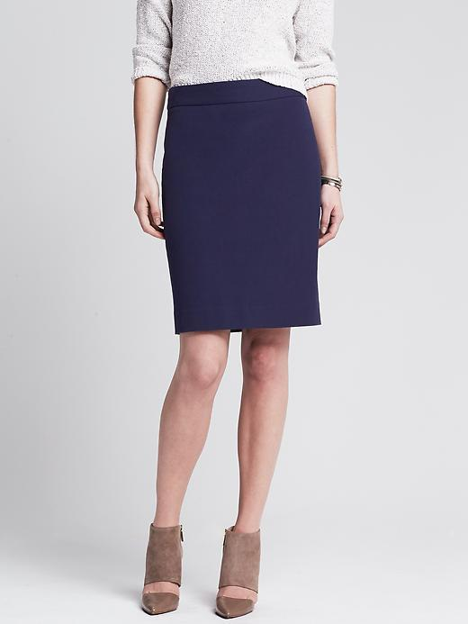 Sloan Fit Pencil Skirt Navy - pattern: plain; style: pencil; fit: tailored/fitted; waist: high rise; predominant colour: navy; occasions: casual, work, creative work; length: just above the knee; fibres: cotton - mix; waist detail: feature waist detail; texture group: woven light midweight; season: a/w 2014; wardrobe: basic