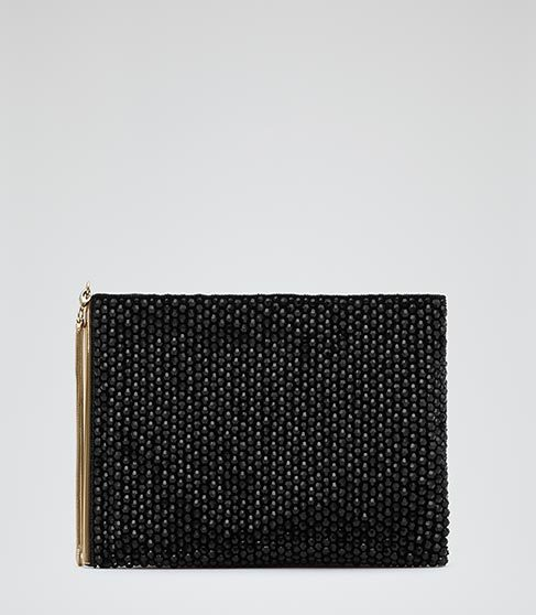 Cindy Beaded Clutch Bag - predominant colour: black; occasions: evening; type of pattern: standard; style: clutch; length: hand carry; size: standard; material: leather; embellishment: beading; pattern: plain; finish: plain; season: a/w 2014