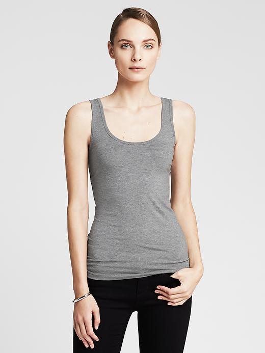 Timeless Tank Medium Grey Heather - sleeve style: standard vest straps/shoulder straps; pattern: plain; predominant colour: mid grey; occasions: casual; length: standard; style: top; neckline: scoop; fibres: cotton - stretch; fit: tight; sleeve length: sleeveless; pattern type: fabric; texture group: jersey - stretchy/drapey; season: a/w 2014; wardrobe: basic