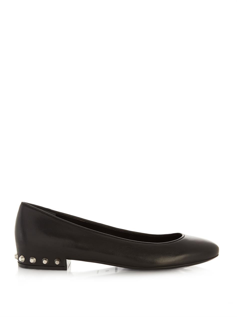 Stud Embellished Leather Flats - predominant colour: black; occasions: casual, creative work; material: leather; heel height: flat; embellishment: studs; toe: round toe; style: ballerinas / pumps; finish: plain; pattern: plain; season: a/w 2014