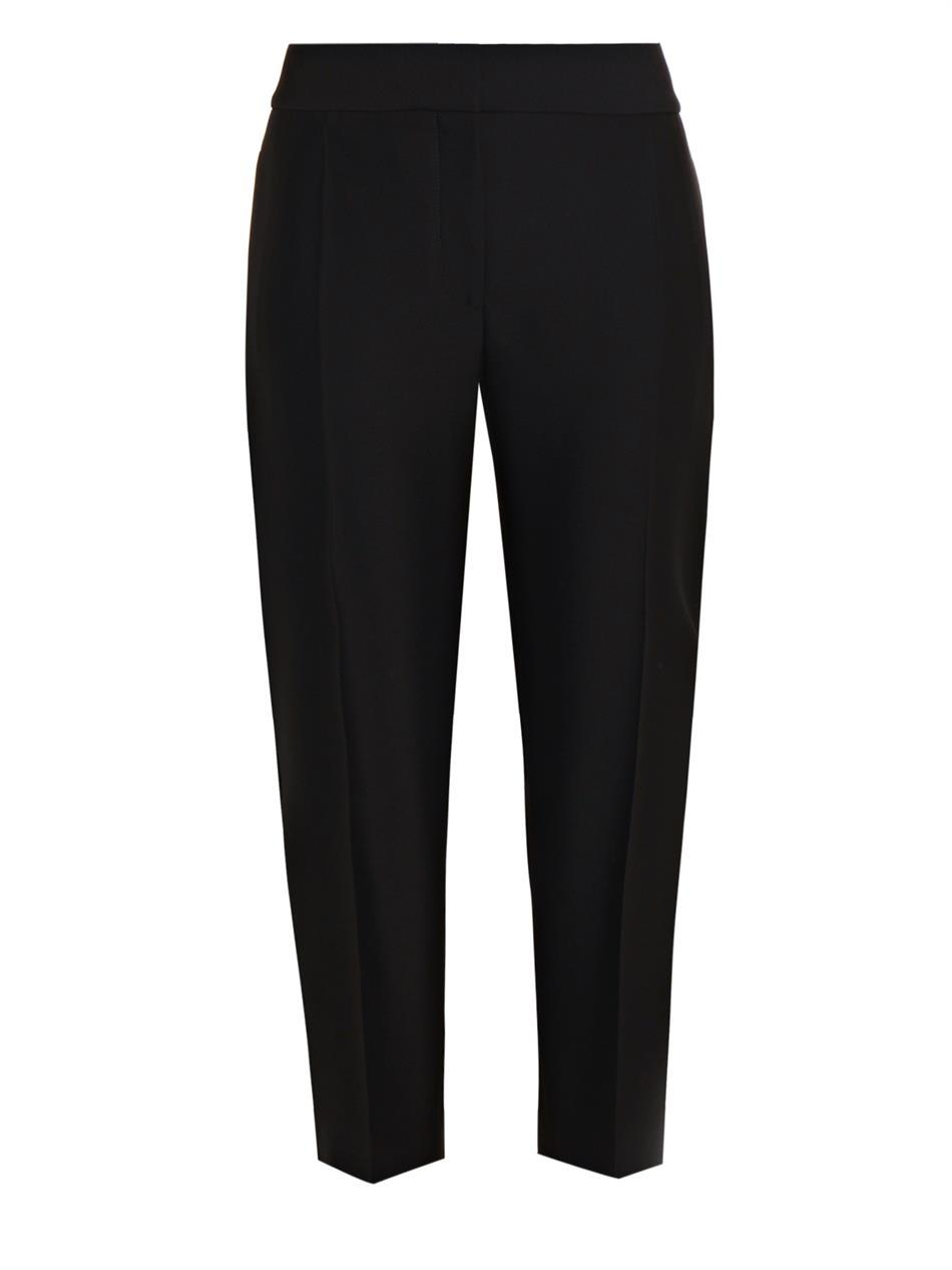 Carrot Leg Cropped Trousers - pattern: plain; waist: mid/regular rise; predominant colour: black; occasions: casual, work, creative work; length: calf length; fibres: wool - mix; fit: tapered; texture group: woven light midweight; style: standard; season: a/w 2014