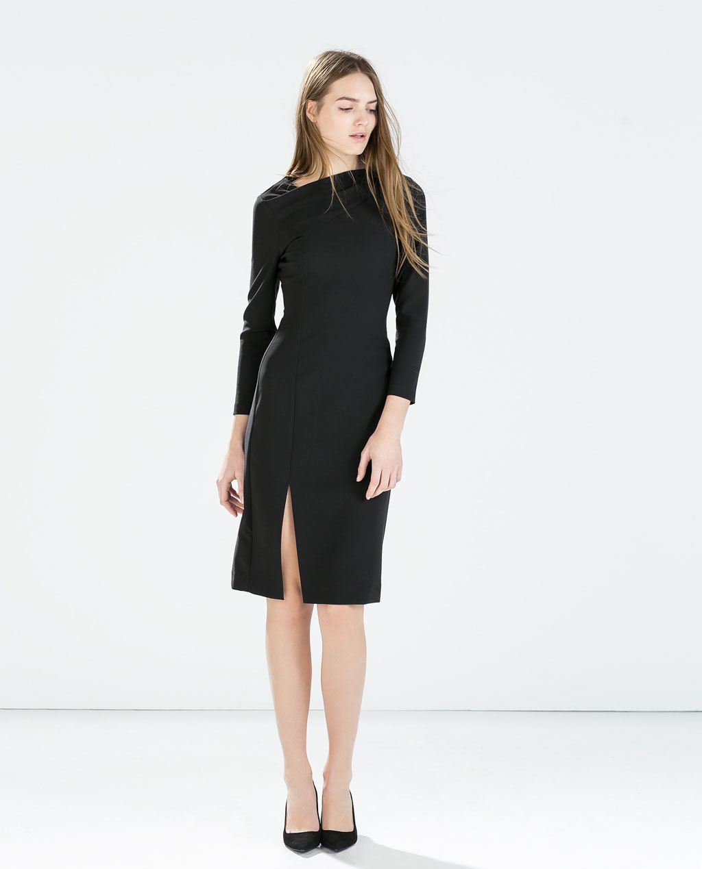 Tube Dress With Tucked Neckline - style: shift; neckline: slash/boat neckline; fit: tailored/fitted; pattern: plain; predominant colour: charcoal; occasions: evening, work, creative work; length: on the knee; fibres: polyester/polyamide - stretch; hip detail: slits at hip; sleeve length: long sleeve; sleeve style: standard; texture group: other - light to midweight; season: a/w 2014; wardrobe: investment