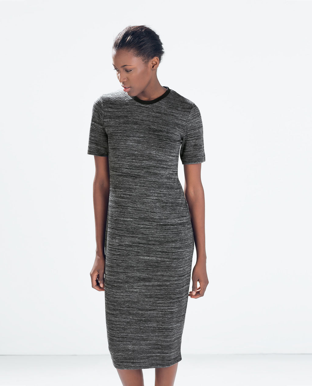 Long Dress - length: below the knee; fit: tight; style: bodycon; predominant colour: charcoal; occasions: casual, evening, creative work; fibres: viscose/rayon - stretch; neckline: crew; sleeve length: short sleeve; sleeve style: standard; texture group: jersey - clingy; pattern type: fabric; pattern size: standard; pattern: marl; season: a/w 2014; wardrobe: basic