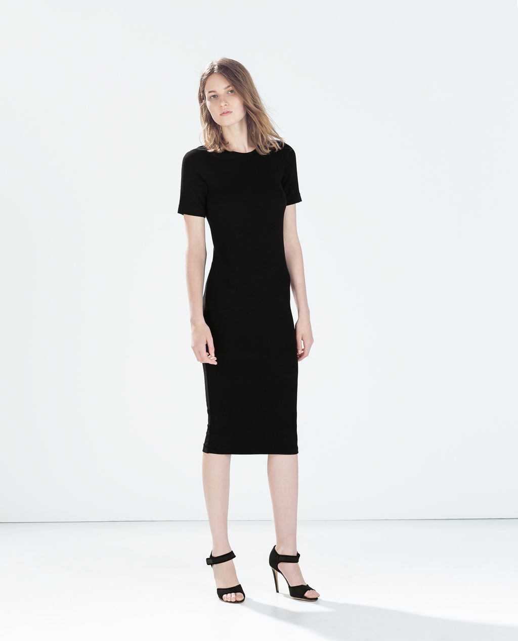 Long Dress - style: shift; length: below the knee; neckline: slash/boat neckline; fit: tight; pattern: plain; hip detail: draws attention to hips; predominant colour: black; occasions: casual, evening, work; fibres: viscose/rayon - stretch; sleeve length: short sleeve; sleeve style: standard; texture group: jersey - stretchy/drapey; season: a/w 2014; wardrobe: basic