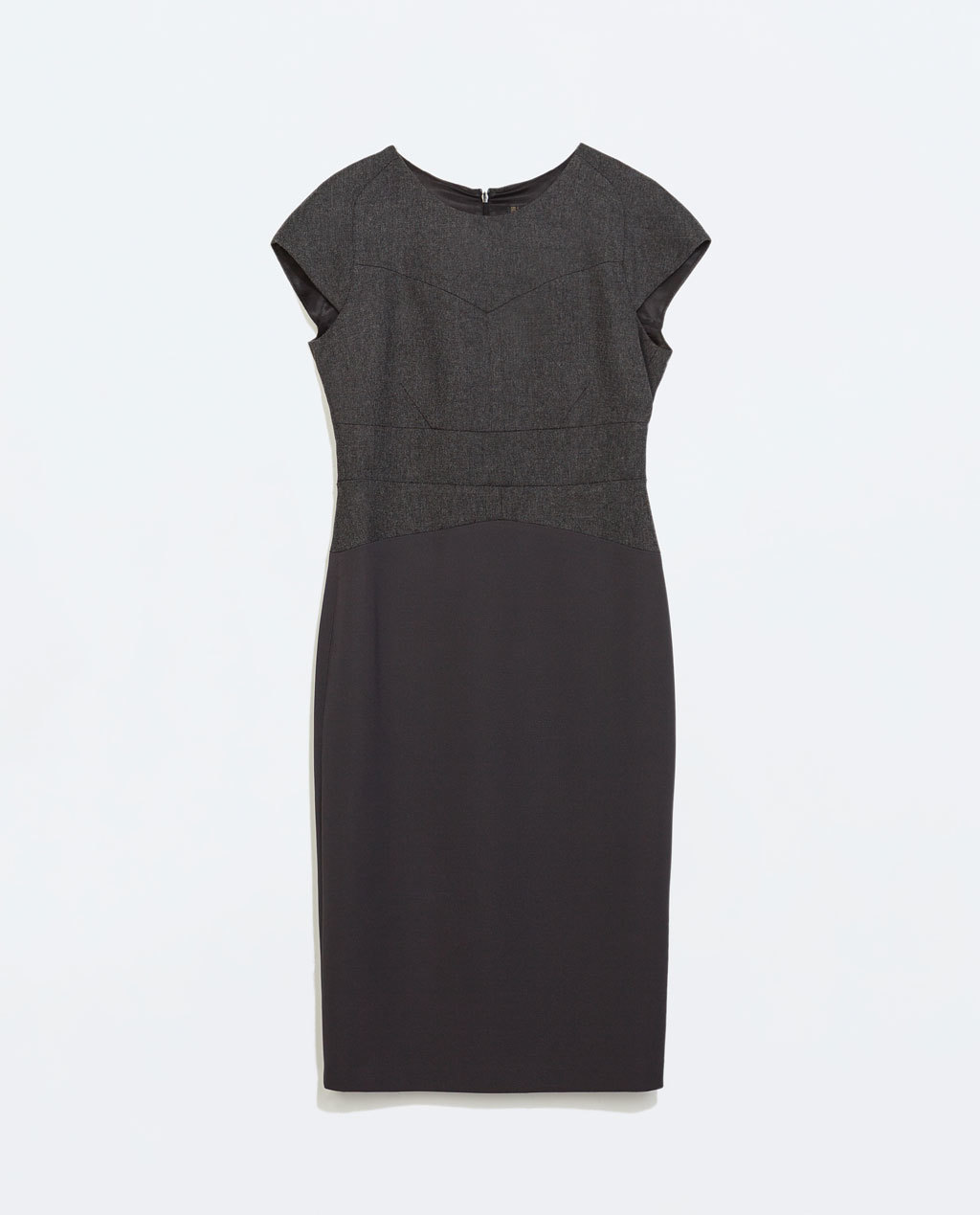 Straight Dress With Seams - style: shift; sleeve style: capped; fit: tailored/fitted; pattern: plain; predominant colour: charcoal; occasions: evening, work, creative work; length: on the knee; fibres: polyester/polyamide - mix; neckline: crew; sleeve length: short sleeve; texture group: woven light midweight; season: a/w 2014; wardrobe: investment