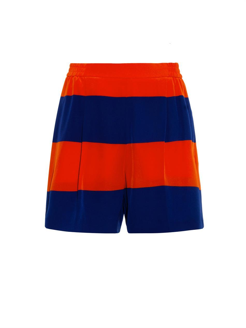 Zanda Striped Silk Shorts - waist: high rise; predominant colour: navy; secondary colour: bright orange; occasions: casual, evening; fibres: silk - 100%; texture group: silky - light; pattern type: fabric; season: a/w 2014; pattern size: standard (bottom); pattern: horizontal stripes (bottom); style: culotte; length: mid thigh shorts; fit: a-line