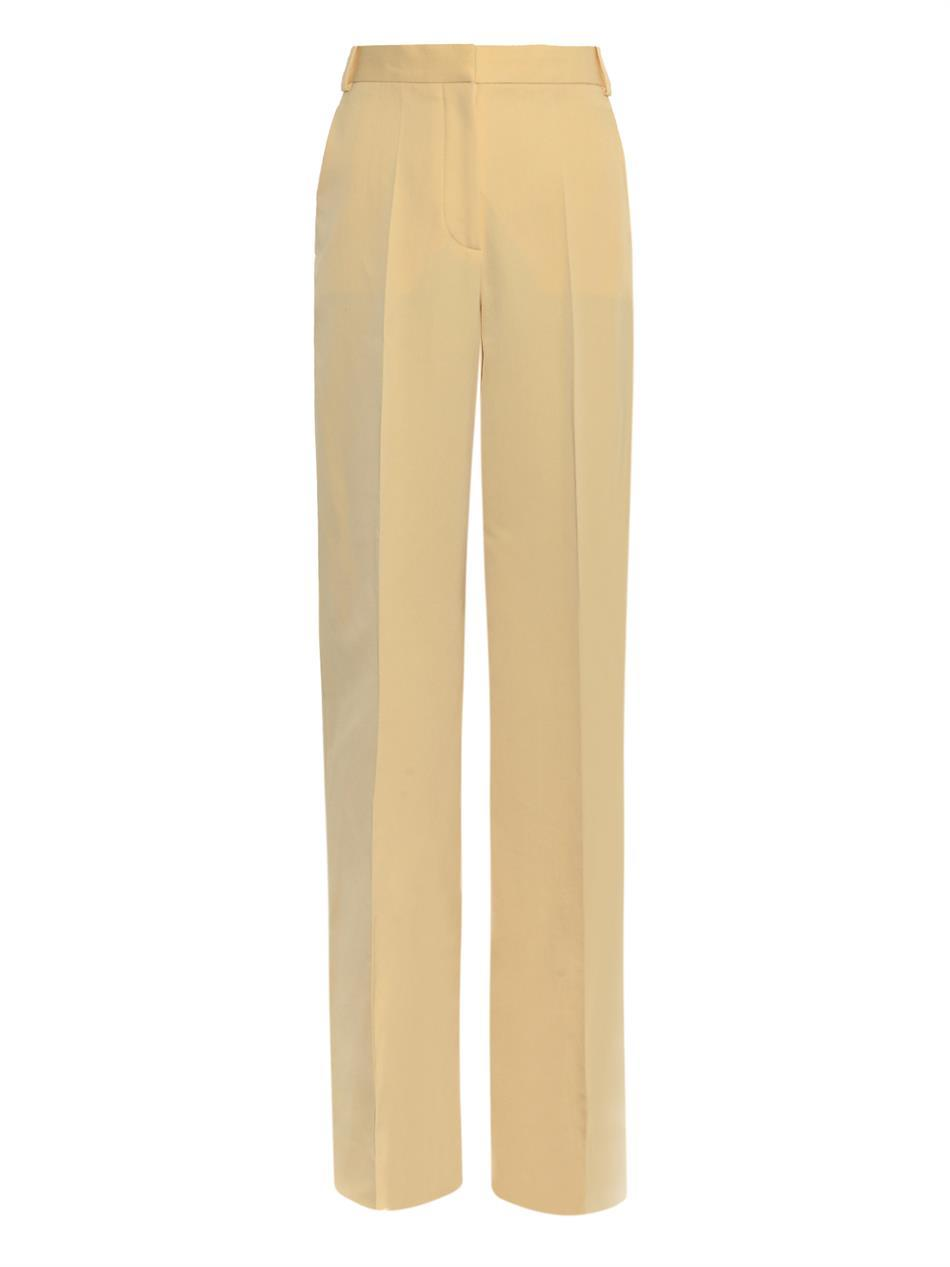 Scott Wide Leg Trousers - length: standard; pattern: plain; waist: high rise; predominant colour: primrose yellow; occasions: evening; fibres: cotton - mix; fit: wide leg; texture group: woven light midweight; style: standard; trends: zesty shades; season: a/w 2014; wardrobe: event