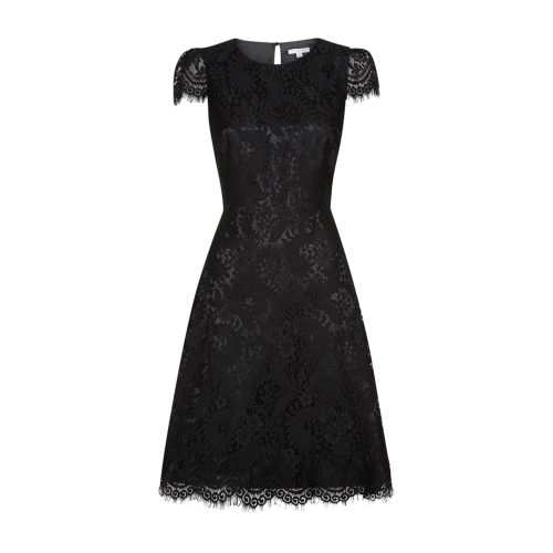 Agatha Dress - sleeve style: capped; predominant colour: black; occasions: evening, occasion; length: just above the knee; fit: fitted at waist & bust; style: fit & flare; fibres: polyester/polyamide - 100%; neckline: crew; sleeve length: short sleeve; texture group: lace; pattern type: fabric; pattern: patterned/print; season: a/w 2014; wardrobe: event