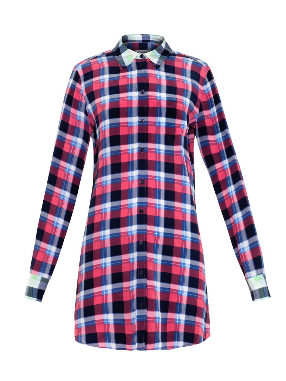 Brett Plaid Print Silk Shirtdress - style: shirt; length: mid thigh; neckline: shirt collar/peter pan/zip with opening; pattern: checked/gingham; occasions: casual, creative work; fit: straight cut; fibres: silk - mix; predominant colour: multicoloured; sleeve length: long sleeve; sleeve style: standard; texture group: silky - light; pattern type: fabric; pattern size: standard; season: a/w 2014; multicoloured: multicoloured