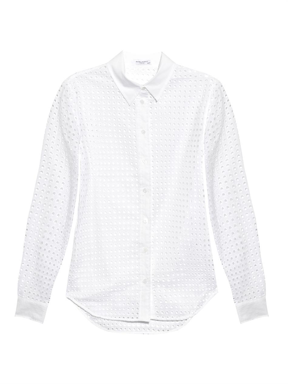 Brett Broderie Anglaise Shirt - neckline: shirt collar/peter pan/zip with opening; pattern: plain; style: shirt; predominant colour: white; occasions: casual, work, creative work; length: standard; fibres: cotton - 100%; fit: body skimming; sleeve length: long sleeve; sleeve style: standard; texture group: cotton feel fabrics; pattern type: fabric; season: a/w 2014; wardrobe: basic