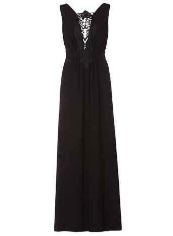 Womens **Elise Ryan Barocque Trim Maxi Black - neckline: v-neck; pattern: plain; sleeve style: sleeveless; style: maxi dress; length: ankle length; bust detail: added detail/embellishment at bust; predominant colour: black; occasions: evening, occasion; fit: fitted at waist & bust; fibres: viscose/rayon - stretch; hip detail: soft pleats at hip/draping at hip/flared at hip; sleeve length: sleeveless; pattern type: fabric; texture group: other - light to midweight; season: a/w 2014