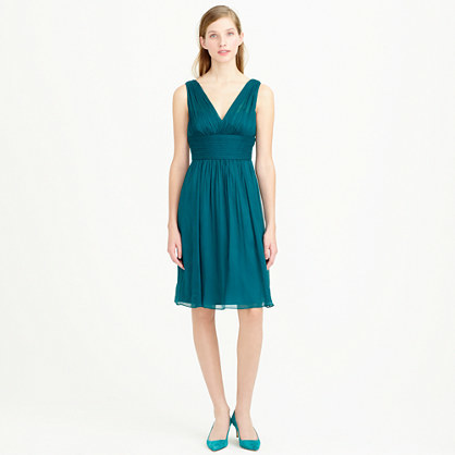 Ava Dress In Silk Chiffon - neckline: v-neck; fit: fitted at waist; pattern: plain; sleeve style: sleeveless; back detail: back revealing; predominant colour: teal; occasions: evening, occasion; length: on the knee; style: fit & flare; fibres: silk - 100%; waist detail: feature waist detail; sleeve length: sleeveless; texture group: sheer fabrics/chiffon/organza etc.; pattern type: fabric; season: a/w 2014; wardrobe: event