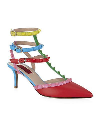 Rockstud 65 1973 Pump - occasions: evening; predominant colour: multicoloured; material: leather; heel height: mid; embellishment: studs; ankle detail: ankle strap; heel: kitten; toe: pointed toe; style: courts; finish: plain; pattern: colourblock; season: a/w 2014; multicoloured: multicoloured; wardrobe: event