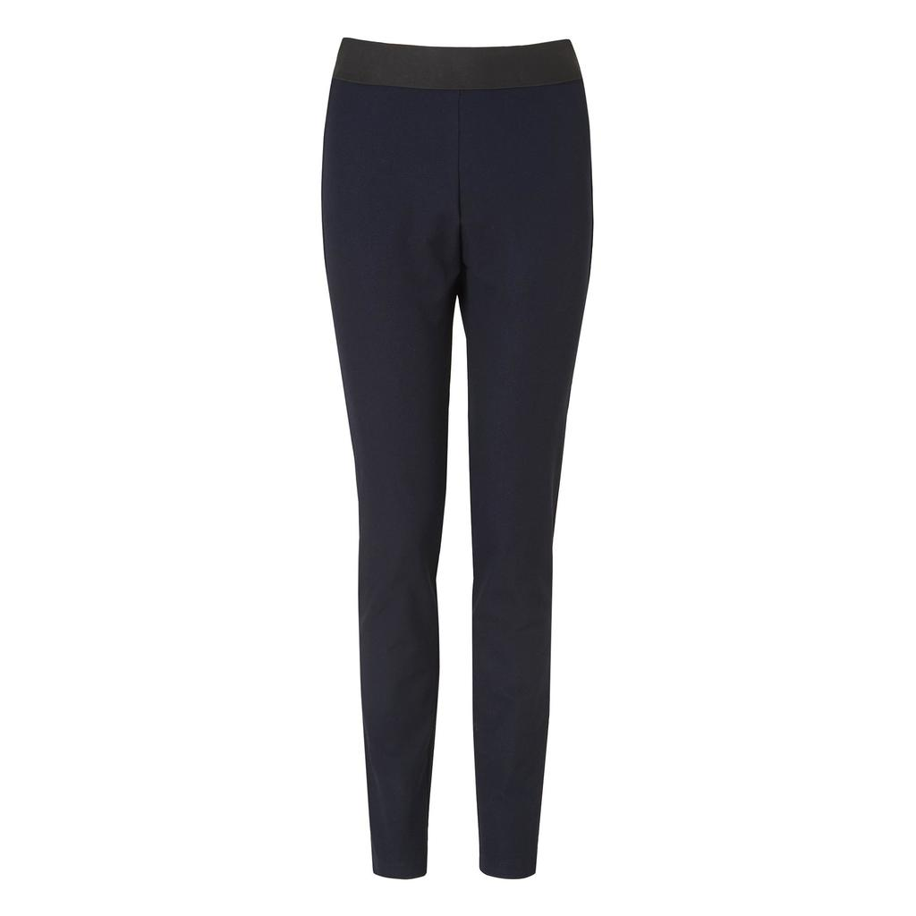 Aden Skinny Leg Trouser - length: standard; pattern: plain; waist detail: elasticated waist; waist: high rise; predominant colour: navy; occasions: casual, creative work; fit: skinny/tight leg; pattern type: fabric; texture group: woven light midweight; style: standard; fibres: viscose/rayon - mix; season: a/w 2014; wardrobe: basic