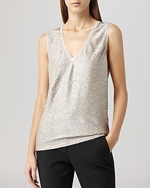 Vest Ona Metallic - neckline: low v-neck; pattern: plain; sleeve style: sleeveless; predominant colour: light grey; occasions: casual, evening; length: standard; style: top; fit: straight cut; sleeve length: sleeveless; pattern type: fabric; texture group: woven light midweight; fibres: viscose/rayon - mix; season: a/w 2014