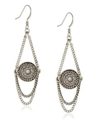 Disc Charm Drop Earrings - predominant colour: silver; occasions: evening, occasion; style: drop; length: mid; size: standard; material: chain/metal; fastening: pierced; finish: metallic; embellishment: chain/metal; season: s/s 2015; wardrobe: event