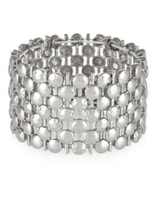 Metal Circle Stretch Bracelet - predominant colour: silver; occasions: evening, occasion, creative work; style: cuff; size: large/oversized; material: chain/metal; finish: metallic; season: s/s 2015; wardrobe: highlight
