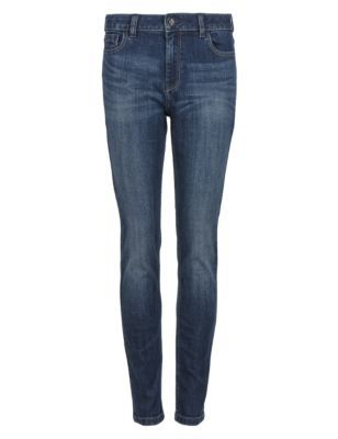 Mid Rise Skinny Jeans - length: standard; pattern: plain; pocket detail: traditional 5 pocket; style: slim leg; waist: mid/regular rise; predominant colour: navy; occasions: casual, creative work; fibres: cotton - stretch; jeans detail: whiskering, shading down centre of thigh; jeans & bottoms detail: turn ups; texture group: denim; pattern type: fabric; season: s/s 2015; wardrobe: basic