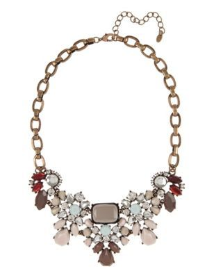 Gem Stone Diamanté Statement Necklace - occasions: evening, occasion; predominant colour: multicoloured; length: mid; size: large/oversized; material: chain/metal; finish: metallic; embellishment: jewels/stone; style: bib/statement; season: s/s 2015; multicoloured: multicoloured; wardrobe: event